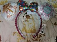 New Disney Parks Minnie Mouse Ears a Small World Bow Sequined Headband Kids Ears