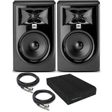 "JBL 305P MkII BUNDLE Powered 5"" Studio Monitor PAIR w/ Pads + TRS/XLR Cables"