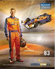 2015 CHARLIE KIMBALL novo nordisk INDIANAPOLIS 500 PHOTO CARD POSTCARD INDY CAR