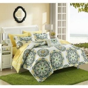 Yellow Green White Medallion Circles 8 pc Comforter Set Twin Full Queen King Bed