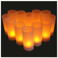 12X Flameless Rechargeable LED Tea Light Flickering Amber Tealights Candles K4T5