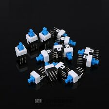 10Pcs Latching 7x7mm Mini Tactile Push Button Switch On-Off DIP-6pins