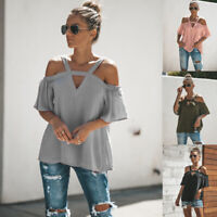 Women Sexy Cold Shoulder Puff Sleeve V-neck Short sleeve T-shirt Blouse Tops Tee