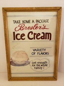 RARE 1950s BRESLER'S ICE CREAM Soda Shop Ice Cream Parlor Store Advertising Sign