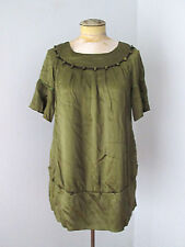 Chloe sage green silk tunic baby doll dress button trim lantern sleeves Sz 2