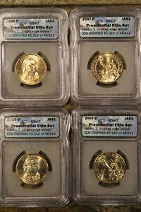 2007-P&D 4 Pièces,4 Variétés, John Adams Présidentiel Dollars Classé IGC-MS-67