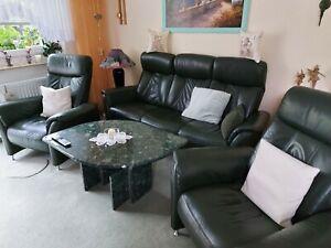 3-Sitzer-Sofa und 2 Relaxsessel in Longlifeleder dunkelgrün