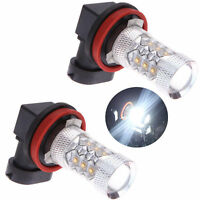 H11 H16 80W Super Bright White LED Fog Light Bulbs Xenon HID FG VE Warranty X2