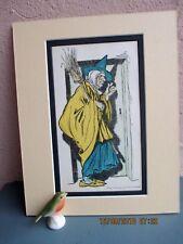 antique  Arthur Rackham  illustration of old woman and broom circa 1900