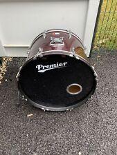 "More details for free p&p. 22"" premier bass drum. wine finish. 22x16"" excellent heads. bd109079"