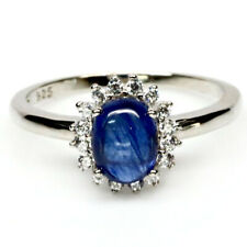 NATURAL 6 X 8 mm. BLUE SAPPHIRE & WHITE CZ 925 STERLING SILVER RING SZ 8.25
