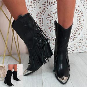 WOMENS LADIES FRINGES MID CALF BOOTS COWBOY METALIC TOE WOMEN SHOES SIZE