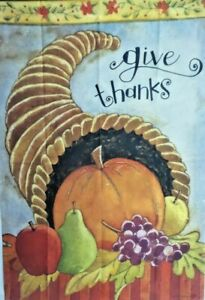 """Delicious Cornucopia Standard House Flag by Toland 28"""" x 40"""", #6112, Give Thanks"""