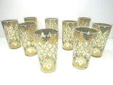 9 Vintage Culver Valencia Gold Green Diamonds Tumbler Highball Glasses 22K Gold