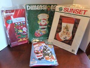 Lot of 4 Felt Christmas Stocking Kits-Dimensions-Janlynn-Vintage-Santa-Kittens