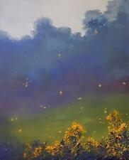 "ORIGINAL ELIZABETH WILLIAMS ""Dance of the Fireflies"" firefly night OIL PAINTING"