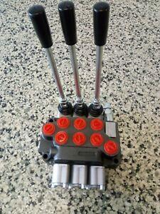 """Hydraulic Flow Control Valve 1/2"""" BSP Ports 3 Spool 50 Lt/Min"""