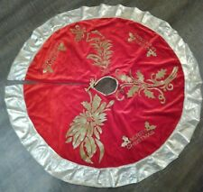 "Vintage Victorian 36"" Velvet Christmas Tree Skirt Gold Metallic Trim"