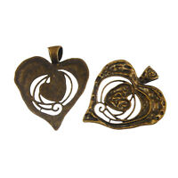 04110 Vintage Gold Tone Alloy Melting Heart Large Necklace Charm Pendant 3pcs