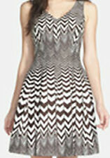 Taylor Chevron Stripe Fit & Flare Dress - Size 12 - BNWT - Brown / Ivory - Work
