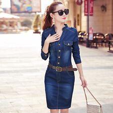 Women Denim Shirt Dress Long Sleeve Pocket Bodycon Distressed Fade Vintage Blue