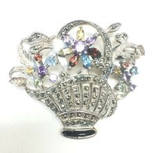 Sterling Silver Flower Pot with Multiple Gemstones Brooche