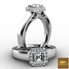 Engagement Gia H Vvs2 0.7 Ct Halo Filigree Shank Prong Setting Asscher Diamond