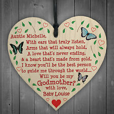 Will You Be My Godmother Personalised Wooden Hanging Heart Cute Love Gift Sign