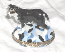 Gr Limoges Black & White Border Collie Dog Standing on Blue Oval Trinket Box