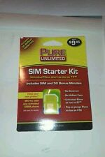 PURE UNLIMITED SIM CARD ACTIVATION KIT WITH FREE CREDIT. Prepaid no contract.