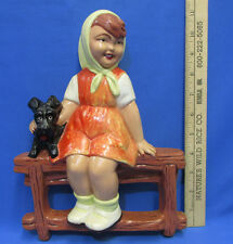 Vintage Wall Hanging Girl with Dog on Fence Figurine Ceramic