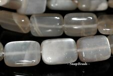 14X10MM GREY MOONSTONE GEMSTONE RECTANGLE 14X10MM LOOSE BEADS 7.5""