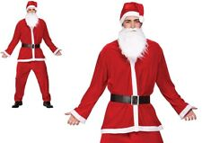 ADULTS DELUXE VELOUR 5 PIECE SANTA CLAUS SUIT FATHER CHRISTMAS XMAS COSTUME