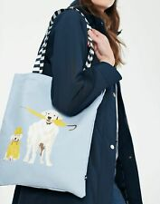 Joules Womens Lulu Canvas Tote Bag - Blue Umbrella Dogs - One Size