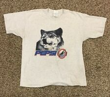 VTG Pepsi-Cola Wildlife Trail Wolf Mens XL Shirt Gray Grey Eagle Soda Pop Advert