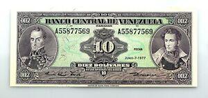 Venezuela. 10 Bolivares. Junio - 7 - 1977. SC-/UNC-
