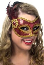 Sequined Feather Masquerade Mask - Red & Gold Genuine Forum Novelties - New