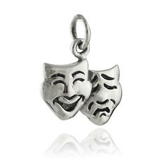 Comedy Tragedy Charm - 925 Sterling Silver - Tiny Theater Actor Pendant NEW
