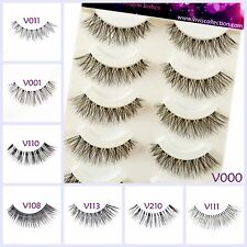 5 Pairs False Eyelashes Long Thick Natural Fake Eye Lashes Set Mink Makeup UK