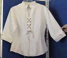 EUC Designer CAROLE LAURENT Fitted BLOUSE w.Lacing INVISIBLE Side ZIP 44 - 10-12