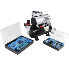Timbertech Airbrush met 2 airbrush pistolen en olievrije compressor met drukvat