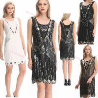 1920s Flapper Womens Vintage Gatsby Braid Sequin Art Deco Inspired Party Dress
