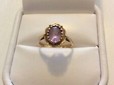 Lovely Ladies Early Vintage 9 Carat Gold Amethyst Solitaire Ring - Size L