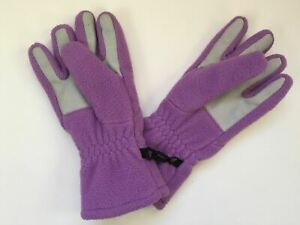 "Lands End Kids Girls Gloves Sz M (5 3/8""-6"") Purple Fleece Winter Snow Outdoor"