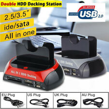 "2.5"" 3.5"" SATA IDE HDD Hard Drive 2 Docking Station All In One Card Reader Hub"