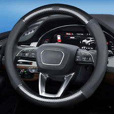 Black PVC breathable leather car steering wheel cover 15 inch for AUDI series