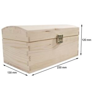 XSmall Wooden Treasure Chest / 23x13x12cm / Unpainted Pine Storage Box For Craft