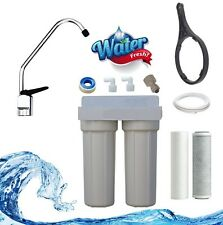 Twin Stage Undersink Water Filter Kit / carbon .5 and sediment micron pure H2O