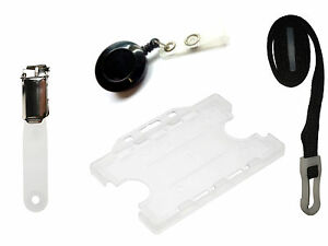 Black ID Card Pack Reel Double Holder Lanyard & Clip