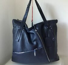 Calvin Klein Navy Blue Ex Large Leather Tote Bag